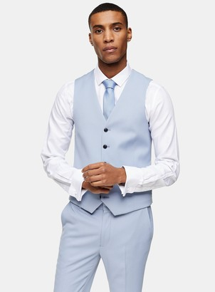 Topman Light Blue Skinny Single Breasted Waistcoat