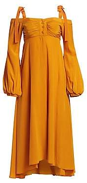 Silvia Tcherassi Women's Magnolia Silk Shoulder-Tie Dress