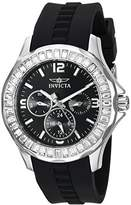 Invicta Women's 'Angel' Quartz Stainless Steel and Silicone Casual Watch, Color:Black (Model: 22469)