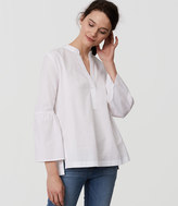 LOFT Bell Sleeve Split Neck Softened Shirt