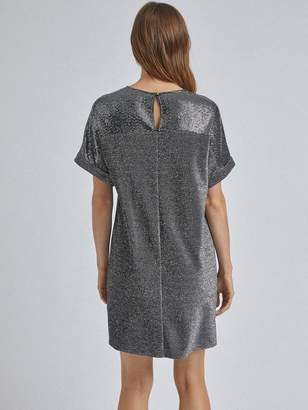 Dorothy Perkins Lurex Sequin Shift Dress - Silver