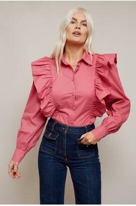 Little Mistress Casey Hot Pink Poplin Shirt With Frill Detail
