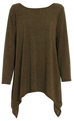 Fashion Star Womens Ladies Long Sleeves Knitted Knitwear Hanky Hem Swing Jumper Top