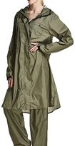 Liveinu Women's PVC Long Size Hooded Raincoat With Removable Pants Sleeves L