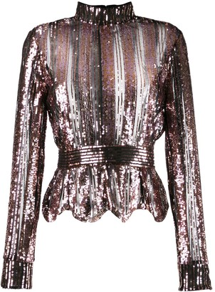 Derek Lam 10 Crosby Long Sleeve Mock Neck Sequin Stripe Top