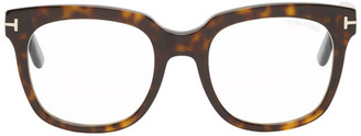 Tom Ford Tortoiseshell Blue Block Large Square Glasses