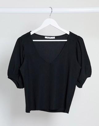 NA-KD v-neck crinkle jersey top in black