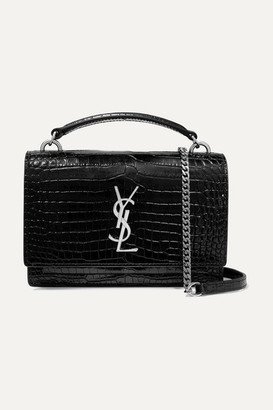 Saint Laurent Sunset Small Croc-effect Patent-leather Shoulder Bag - Black
