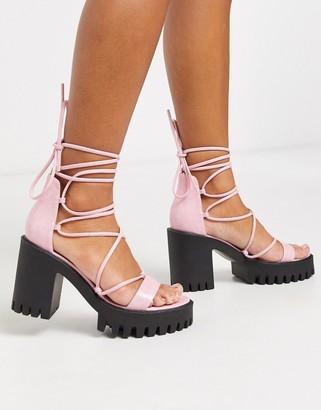 Public Desire Roxanne ankle tie cleated platform block heel sandal in pink