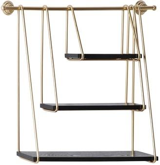 "Willow Row Gold Metal & Black Wood Hanging Wall Shelf - 26"" X 22"""
