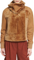 Tibi Shearling Aviator Jacket, Brown