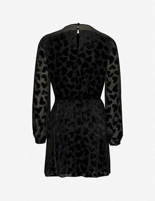 Saint Laurent Heart-print semi-sheer jacquard mini dress
