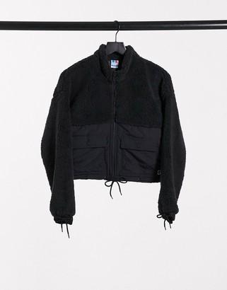 Russell Athletic zip up fleece jacket in black