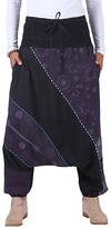 Aller Simplement Black & Purple Abstract Harem Pants