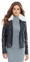Gianni Bini Dean Lamb Shearling Collar Genuine Leather Jacket