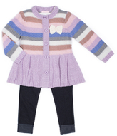 Little Lass Lavender & Pink Stripe Cardigan Set - Toddler & Girls