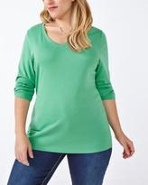 Penningtons Shaped Fit 3/4 Sleeve V-Neck T-Shirt
