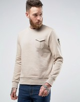 Brave Soul Military Badged Crew Neck Jersey Sweater