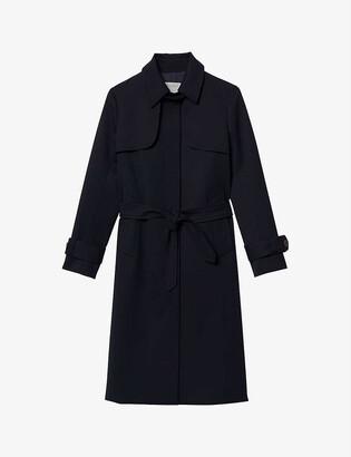 Sandro Pleated-panel twill trench coat