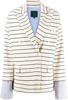 Jejia Contrasting Cuff Striped Blazer