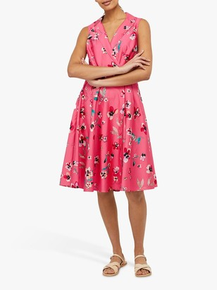 Monsoon Maisy Floral Print Knee Length Dress, Pink/Multi