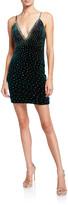 Jovani Deep V Neck Rhinestone Embellished Velvet Short Dress