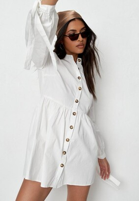 Missguided White Tie Cuff Smock Shirt Dress