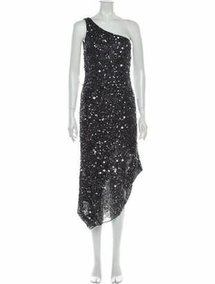 ABS by Allen Schwartz One-Shoulder Midi Length Dress Grey