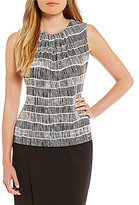 Calvin Klein Petites Pleat Neck Bamboo Contrast Stripe Print Matte Jersey Shell