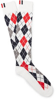 Thom Browne Argyle Intarsia Cotton-blend Over-the-calf Socks - White