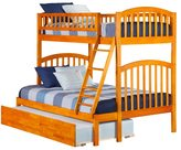 Atlantic Richland Caramel Latte Wood Bunk Bed Twin Over Full With Urban Trundle Bed