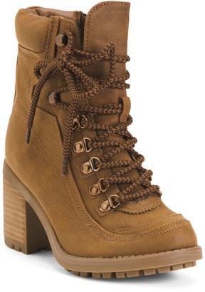 Stacked Heel Hiker Boots