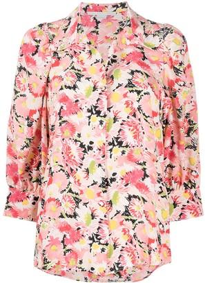 Stella McCartney Floral-Print Crop-Sleeve Blouse