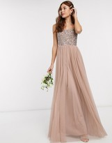 Maya Bridesmaid sleeveless square neck maxi tulle dress with tonal delicate sequin overlay in taupe blush