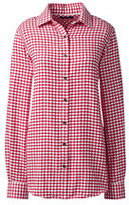 Lands' End Women's Tall Long Sleeve Flannel Shirt-Rich Red Windowpane