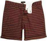 River Island Brown Textured Stripe Slim Fit Chino Shorts