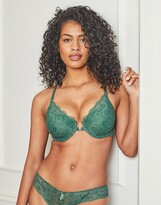 Thumbnail for your product : Pour Moi? Pour Moi Fuller Bust Love lace front closure plunge bra in green