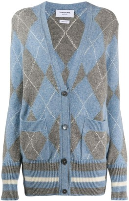Thom Browne classic argyle oversize cardigan in Shetland wool