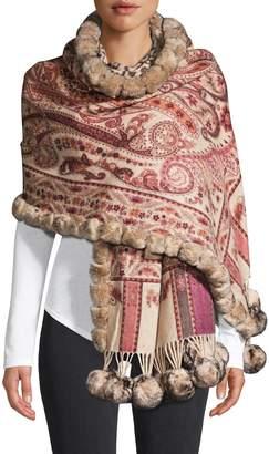 La Fiorentina Wool & Rabbit Fur Paisely Pom-Pom Wrap Scarf