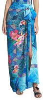 Gottex Oahu Tropical Silk Pareo Coverup, Blue/Multicolor