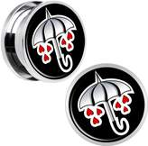 Body Candy Stainless Steel Umbrella Red Heart Rain Screw Fit Double Flare Plug Pair 18mm