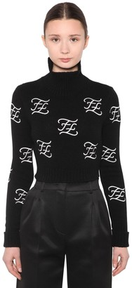 Fendi EMBROIDERED WOOL & CASHMERE KNIT SWEATER