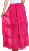 Sakkas AA754 - Solid Embroidered Crochet Lace Trim Gypsy Bohemian Mid Length Cotton Skirt - Purple/