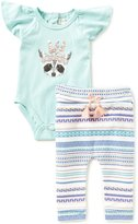 Jessica Simpson Baby Girls Newborn-9 Months Raccoon Bodysuit & Printed Pant Set