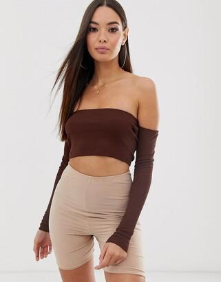 Asos Design DESIGN long sleeve off shoulder rib super crop top in brown