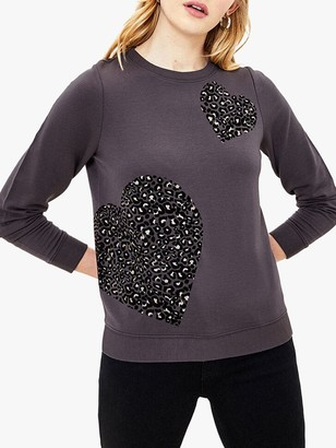 Oasis Animal Flocked Heart Sweat Top, Dark Grey