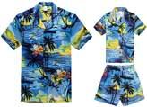 Hawaii Hangover Matching Father Son Hawaiian Luau Outfit Men Boy Shirts Shorts Blue Sunset XL-6