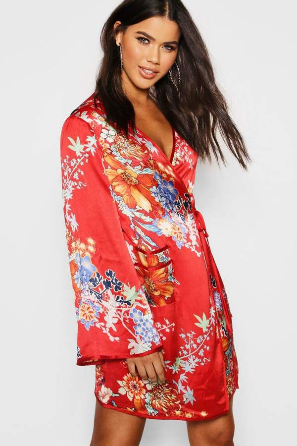boohoo Piped Oriental Satin Wrap Mini Dress