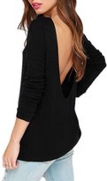 Generic Womens Scoop Neck Long Sleeves V Shape Backless Solid T-Shirt