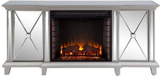 "Southern Enterprises 58"" Silver Contemporary Rectangular Mirrored Media Fireplace with Storage Cabinets"